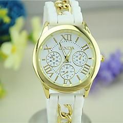 お買い得  レディース腕時計-Geneva 女性用 クォーツ ブレスレットウォッチ ホット販売 シリコーン バンド キャンディ ブラック 白 ブルー レッド グリーン ピンク 黄色 ローズ