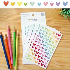 colorido divertido Conjunto de pegatina corazón (6 piezas)