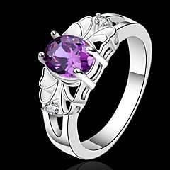 Női Vallomás gyűrűk Kristály jelmez ékszerek Ezüst Ékszerek Kompatibilitás Esküvő Parti Napi Hétköznapi