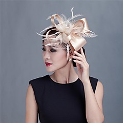 tanie Biżuteria do włosów-ślubne damskie / party satin fascinator z piórami 1990 elegancki styl