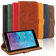 Για Samsung Galaxy Note Θήκη καρτών / με βάση στήριξης / Ανοιγόμενη tok Πλήρης κάλυψη tok Μονόχρωμη Συνθετικό δέρμα Samsung Note 4