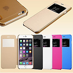 Na Etui iPhone 6 / Etui iPhone 6 Plus Z okienkiem / Flip Kılıf Futerał Kılıf Jeden kolor Twarde Skóra PUiPhone 6s Plus/6 Plus / iPhone