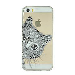 Недорогие Кейсы для iPhone 5-Кейс для Назначение iPhone 7 Plus IPhone 7 iPhone 5 Apple Кейс для iPhone 5 Прозрачный С узором Кейс на заднюю панель Кот Мягкий ТПУ для