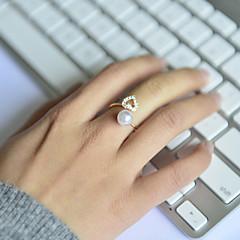 お買い得  指輪-女性用 バンドリング  -  真珠, ラインストーン, 合金 ハート, 幸福 オープン 調整可 用途 結婚式 パーティー 日常