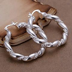Damskie Kolczyki koła Modny biżuteria kostiumowa Miedź Posrebrzany Circle Shape Biżuteria Na Impreza Codzienny Casual