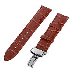 22mm café durable PU bande de montre bracelet boucle ardillon réglable