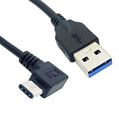 お買い得  ケーブル、アダプター-90度の直角USB 3.1タイプC雄USB-Cは、Nokia N1タブレットのための男性のデータケーブルを入力し; 携帯電話