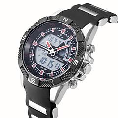 ASJ Bărbați Ceas de Mână Quartz LCD Calendar Cronograf Rezistent la Apă Zone Duale de Timp alarmă Silicon Bandă Negru