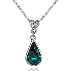 preiswerte Halsketten-Damen Kristall Synthetischer Smaragd Anhängerketten - Tropfen, Herz Rot, Grün, Blau Modische Halsketten Schmuck Für Danke, Valentinstag