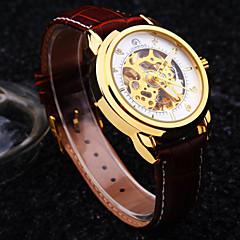 voordelige Herenhorloges-Heren Automatisch opwindmechanisme mechanische horloges Polshorloge Waterbestendig Hol Gegraveerd Leer Band Luxe Bruin