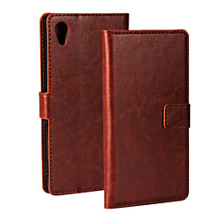 For Sony Case Wallet / Card Holder / with Stand / Flip Case Full Body Case Solid Color Hard PU Leather for Sony Sony Xperia M4 Aqua