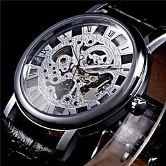 お買い得  メンズ腕時計-WINNER 男性用 リストウォッチ / 機械式時計 透かし加工 PU バンド ブラック / 手巻き式