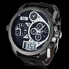 preiswerte Tolle Angebote auf Uhren-V6 Herrn Militäruhr Japanischer Quartz Kalender Sportuhr LCD PU Band Analog-Digital Schwarz - Weiß Schwarz