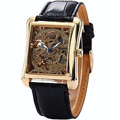 preiswerte Herrenuhren-WINNER Herrn Armbanduhr / Mechanische Uhr Transparentes Ziffernblatt PU Band Luxus Schwarz / Automatikaufzug