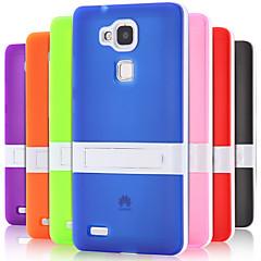 Недорогие Чехлы и кейсы для Huawei Mate-Кейс для Назначение Huawei Huawei Mate 7 Кейс для Huawei со стендом Кейс на заднюю панель Сплошной цвет Твердый ТПУ для Huawei Mate 7