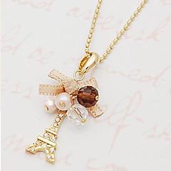 preiswerte Halsketten-Damen Perle Anhängerketten / Perlenkette - Perle, Künstliche Perle, Strass Kreuz, Turm, Schleife Klassisch, Böhmische, Romantisch Modische Halsketten Für Alltag, Normal