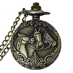 povoljno Džepni satovi-modni 3 konja uzorak berba legure kvarcni analogni džepni sat s lancima (1 x lr626)