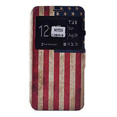 For Samsung Galaxy Note Kortholder / Med stativ / Med vindue / Flip / Mønster Etui Heldækkende Etui Flag Blødt Kunstlæder SamsungNote 5 /