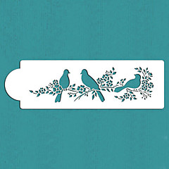 Valentin ajándék szerelmes madarak torta oldalára stencil, st-295