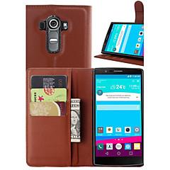 voordelige Hoesjes / covers voor LG-Voor LG hoesje Kaarthouder / Portemonnee / met standaard / Flip hoesje Volledige behuizing hoesje Effen kleur Hard PU-leer LGLG G4 / LG