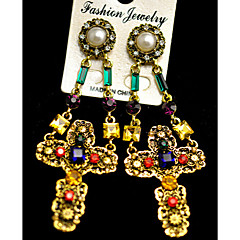 preiswerte Ohrringe-Damen - Edelstein, Künstliche Perle, Strass Kreuz Luxus, Retro, Gothic Für Party Alltag