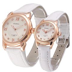 preiswerte Armbanduhren für Paare-Herrn / Damen / Paar Armbanduhr Schlussverkauf Leder Band Charme / Modisch / Kleideruhr Schwarz / Weiß / Braun