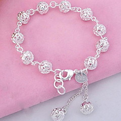 cheap Bracelets-Women's Sterling Silver Crystal Ball Charm Bracelet Bangles Strand Bracelet - Fashion Silver Bracelet For Christmas Gifts Party Daily
