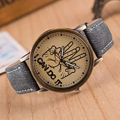 preiswerte Tolle Angebote auf Uhren-Damen Armbanduhr Quartz Armbanduhren für den Alltag PU Band Analog Modisch Uhr mit Wörtern Schwarz - Grün Blau Rosa Ein Jahr Batterielebensdauer / Edelstahl