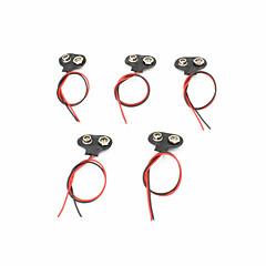 T-Style plastique + inox pile 9v de boucles d'acier w / conduit - noir (5 pièces)