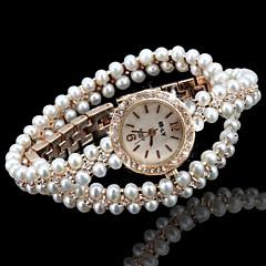 お買い得  レディース腕時計-女性用 ファッションウォッチ ブレスレットウォッチ ユニークなクリエイティブウォッチ クォーツ 模造ダイヤモンド 合金 バンド ハンズ 光沢タイプ ボヘミアンスタイル パール ゴールド - ホワイト