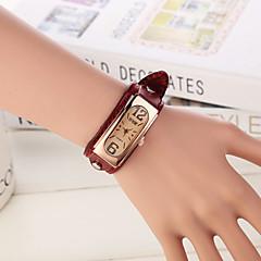 preiswerte Damenuhren-Damen Armbanduhr Quartz Armbanduhren für den Alltag Leder Band Analog Charme Modisch Weiß - Wein Hellbraun Dunkelbraun / Edelstahl