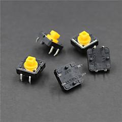 12 X 12 X 7.3mm 버튼 스위치 - 블랙 + 노란색 (5 개)