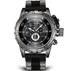 お買い得  大特価腕時計-V6 男性用 軍用腕時計 リストウォッチ クォーツ 日本産クォーツ 計算尺付き シリコーン バンド ハンズ チャーム ブラック / 白 / ブルー - ブラック グレー ブルー 2年 電池寿命 / ステンレス / 三菱LR626