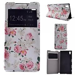 Назначение Кейс для Sony Xperia Z5 Чехлы панели со стендом с окошком Флип Чехол Кейс для Цветы Твердый Искусственная кожа для Sony Sony