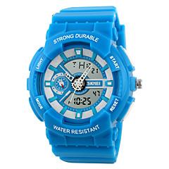 お買い得  メンズ腕時計-SKMEI 男性用 スポーツウォッチ / リストウォッチ アラーム / カレンダー / クロノグラフ付き ラバー バンド キャンディ ブラック / 白 / ブルー / 耐水 / LCD / 2タイムゾーン