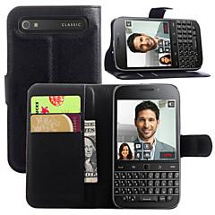 Mert BlackBerry tok Pénztárca / Kártyatartó / Állvánnyal / Flip Case Teljes védelem Case Egyszínű Kemény Műbőr mert BlackBerry