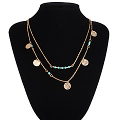 Women's Pendant Necklaces Layered Necklaces Statement Necklaces Turquoise Alloy Silver Golden Jewelry Wedding Party Daily Casual 1pc