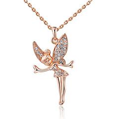 お買い得  ネックレス-女性用 クリスタル イミテーションダイヤモンド ペンダントネックレス  -  翼 / 羽 シルバー ローズゴールド ネックレス 用途