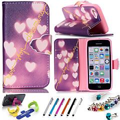 Для Кейс для iPhone 5 Бумажник для карт / со стендом Кейс для Чехол Кейс для С сердцем Твердый Искусственная кожаiPhone 7 Plus / iPhone 7