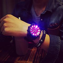 お買い得  大特価腕時計-男性用 クォーツ ユニークなクリエイティブウォッチ リストウォッチ LED シリコーン バンド チャーム ブラック
