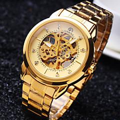 お買い得  メンズ腕時計-男性用 リストウォッチ 機械式時計 自動巻き 30 m 耐水 透かし加工 ステンレス バンド ハンズ ぜいたく 光沢タイプ ゴールド - ホワイト ブラック ゴールデン