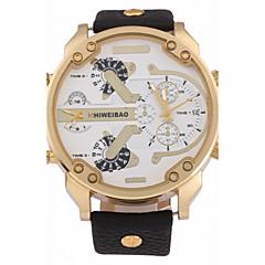 お買い得  大特価腕時計-男性用 クォーツ リストウォッチ 軍用腕時計 カレンダー 2タイムゾーン レザー バンド クール ブラック ブラウン カーキ