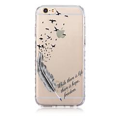 Недорогие Кейсы для iPhone 6-Кейс для Назначение Apple iPhone X / iPhone 8 Plus / iPhone 6 Plus Полупрозрачный / С узором Кейс на заднюю панель  Перья Мягкий ТПУ для iPhone X / iPhone 8 Pluss / iPhone 8