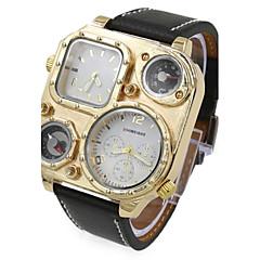 お買い得  メンズ腕時計-男性用 リストウォッチ クォーツ 2タイムゾーン レザー バンド ブラック ブルー ブラウン