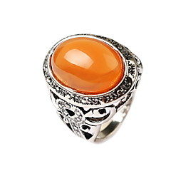 cheap Rings-Men's Gem / Alloy Flower Statement Ring - Carved Orange / Green Ring For Daily / Casual