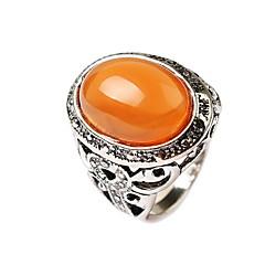 preiswerte Ringe-Herrn Statement-Ring - Edelstein, Aleación Blume Grabado Schmuck Orange / Grün Für Alltag Normal 7 / 8 / 9 / 10