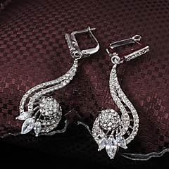 cheap Earrings-2015 Fashion 18K Gold Plated Noble Full CZ Stone Wedding Party Earrings For Woman&Lady