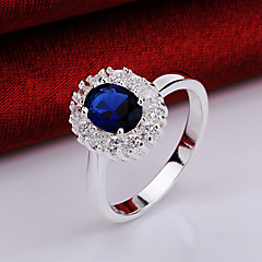 preiswerte Ringe-Damen Statement-Ring - Krystall, Zirkon, Kupfer Prinzessin Klassisch 8 Blau Für Party Party / Abend Alltag / versilbert / versilbert