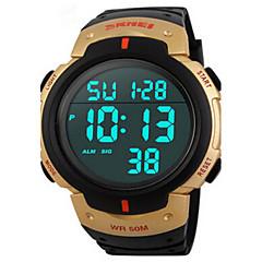 preiswerte Herrenuhren-Herrn digital Armbanduhr / Sportuhr Alarm / Kalender / Chronograph / Wasserdicht / Cool PU Band Schwarz