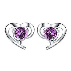 billige Øreringe-Dame Stangøreringe Krystal Kærlighed Hjerte kostume smykker Sølv Krystal Hjerteformet Smykker Til Bryllup Fest Daglig